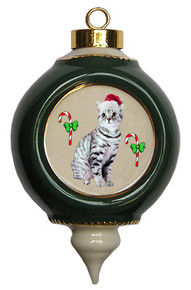 American Shorthair Cat Victorian Green & Gold Christmas Ornament