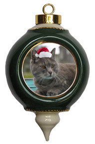 Cat Victorian Green & Gold Christmas Ornament