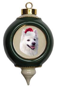 American Eskimo Dog Victorian Green & Gold Christmas Ornament