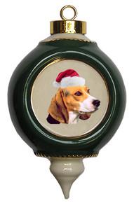 Beagle Victorian Green & Gold Christmas Ornament