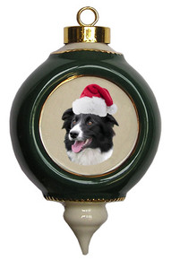 Border Collie Victorian Green & Gold Christmas Ornament