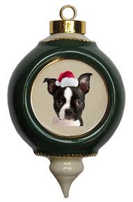 Boston Terrier Victorian Green & Gold Christmas Ornament