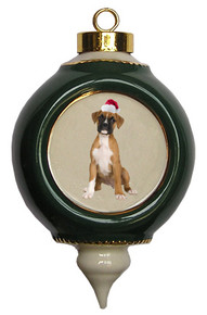 Boxer Victorian Green & Gold Christmas Ornament