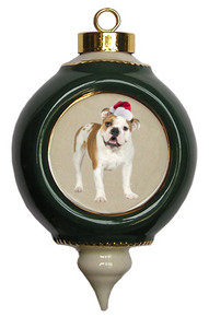 Bulldog Victorian Green & Gold Christmas Ornament