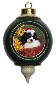 Cavalier King Charles Victorian Green & Gold Christmas Ornament