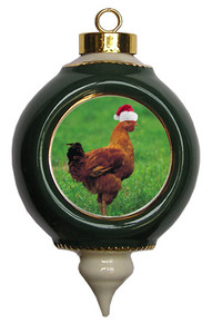 Chicken Victorian Green and Gold Christmas Ornament