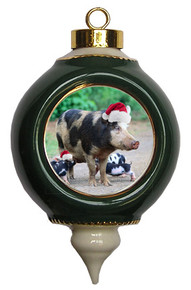 Pig Victorian Green and Gold Christmas Ornament
