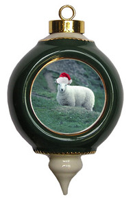 Sheep Victorian Green and Gold Christmas Ornament