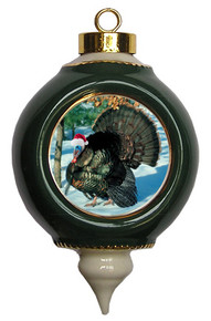Turkey Victorian Green and Gold Christmas Ornament