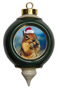 Chipmunk Victorian Green and Gold Christmas Ornament