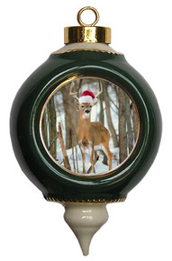 Deer Victorian Green and Gold Christmas Ornament