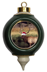 Elk Victorian Green and Gold Christmas Ornament