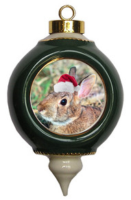 Rabbit Victorian Green and Gold Christmas Ornament