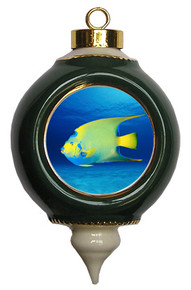Angelfish Victorian Green and Gold Christmas Ornament