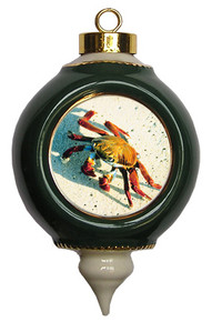 Crab Victorian Green and Gold Christmas Ornament