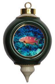 Grouper Victorian Green and Gold Christmas Ornament