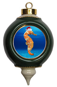 Seahorse Victorian Green and Gold Christmas Ornament
