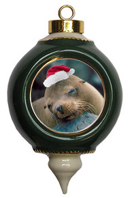 Sea Lion Victorian Green and Gold Christmas Ornament