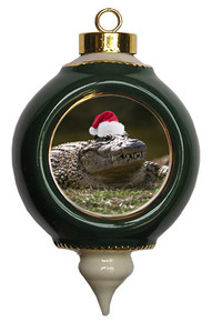 Alligator Victorian Green and Gold Christmas Ornament