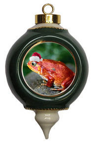 Tomato Frog Victorian Green and Gold Christmas Ornament