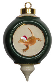 Gecko Victorian Green and Gold Christmas Ornament