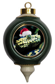 Viper Snake Victorian Green and Gold Christmas Ornament