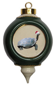Turtle Victorian Green and Gold Christmas Ornament