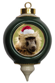 Baboon Victorian Green and Gold Christmas Ornament