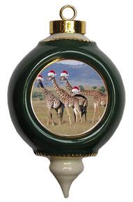 Giraffe Victorian Green and Gold Christmas Ornament