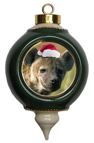 Hyena Victorian Green and Gold Christmas Ornament