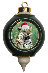 Leopard Victorian Green and Gold Christmas Ornament