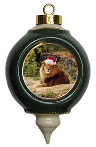 Lion Victorian Green and Gold Christmas Ornament