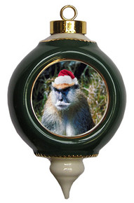 Monkey Victorian Green and Gold Christmas Ornament
