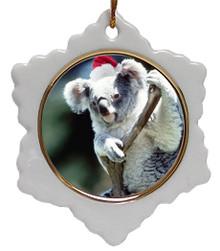 Koala Bear Jolly Santa Snowflake Christmas Ornament