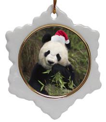 Panda Bear Jolly Santa Snowflake Christmas Ornament
