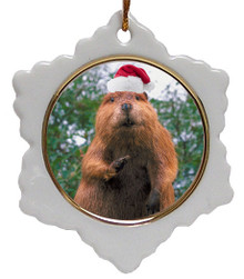 Beaver Jolly Santa Snowflake Christmas Ornament
