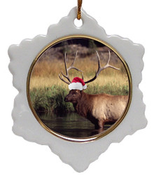 Elk Jolly Santa Snowflake Christmas Ornament