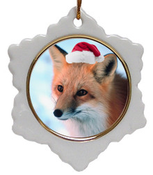 Fox Jolly Santa Snowflake Christmas Ornament