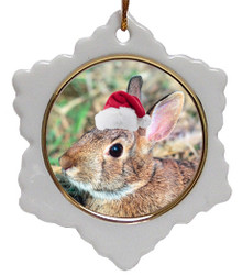 Rabbit Jolly Santa Snowflake Christmas Ornament