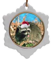 Raccoon Jolly Santa Snowflake Christmas Ornament
