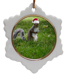 Squirrel Jolly Santa Snowflake Christmas Ornament