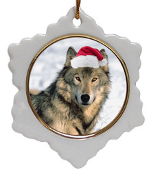Wolf Jolly Santa Snowflake Christmas Ornament
