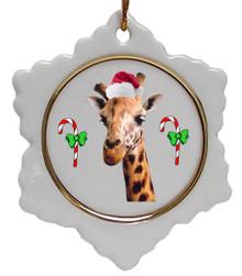 Giraffe Jolly Santa Snowflake Christmas Ornament
