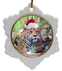 Jaguar Jolly Santa Snowflake Christmas Ornament