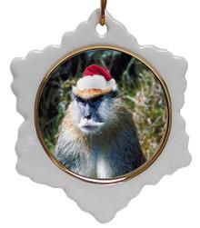 Monkey Jolly Santa Snowflake Christmas Ornament