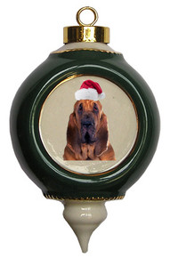 Bloodhound Victorian Green & Gold Christmas Ornament