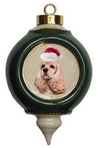 Cocker Spaniel Victorian Green & Gold Christmas Ornament