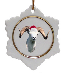 Big Horned Sheep Ceramic Jolly Santa Snowflake Christmas Ornament