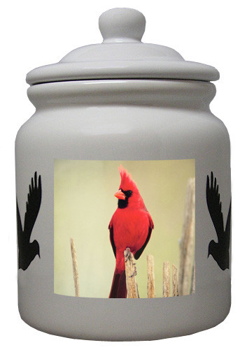 Cardinal Ceramic Color Cookie Jar