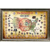 New York Yankees Ballpark Map Framed Collage w/Game Used Dirt